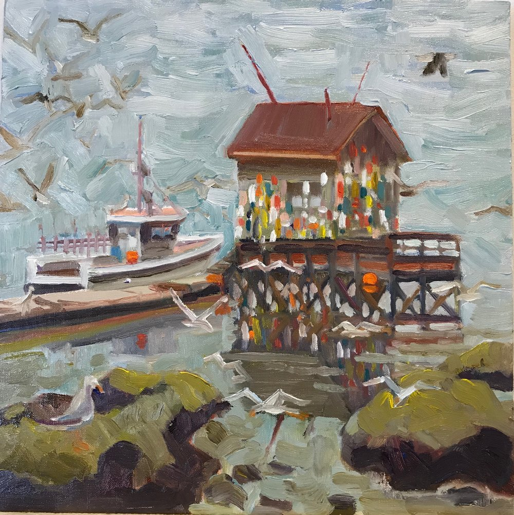 Gray with Buoys, oils, 12 x 12