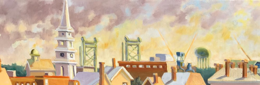 Portsmouth Rising, oils, 12 x 24