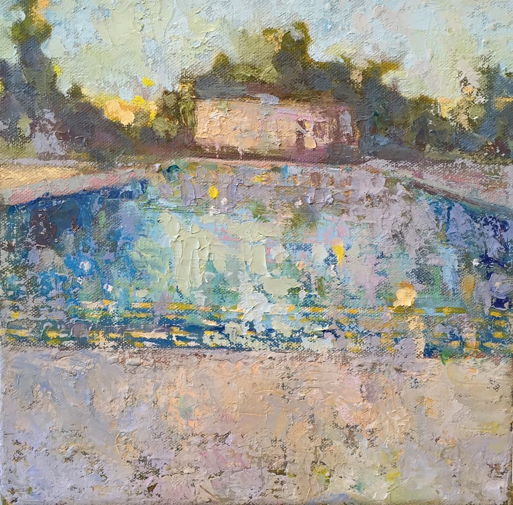 Pierce Pool 6 AM, oils, 12 x 12