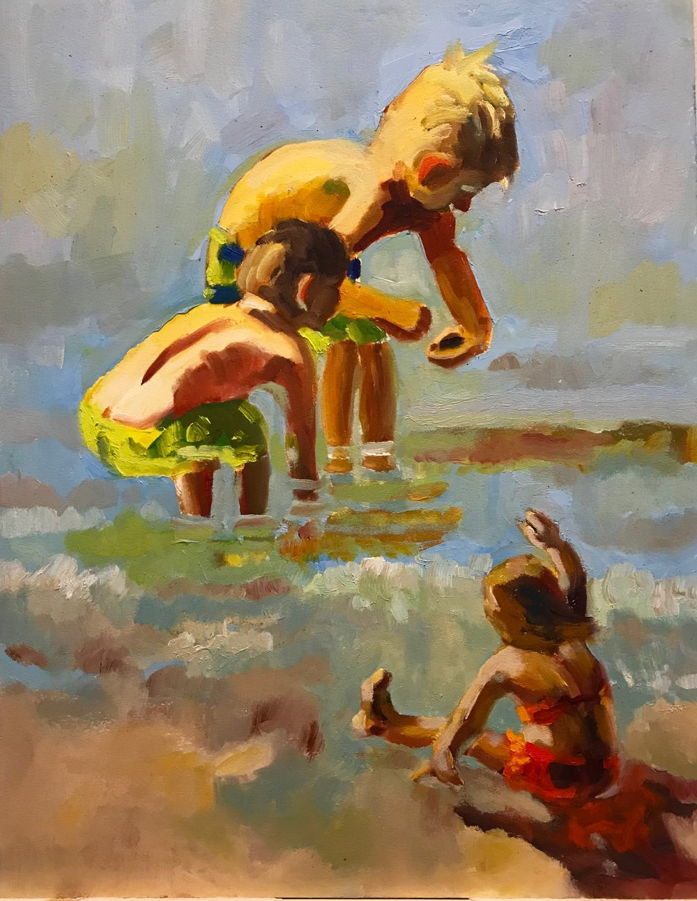 Water Babies, oil on paper, 14 x 18, NFS