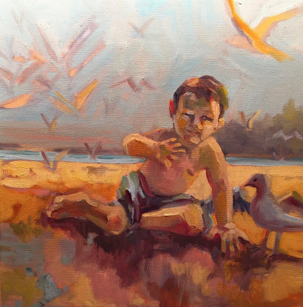 Flynn, oils, 12 x 12