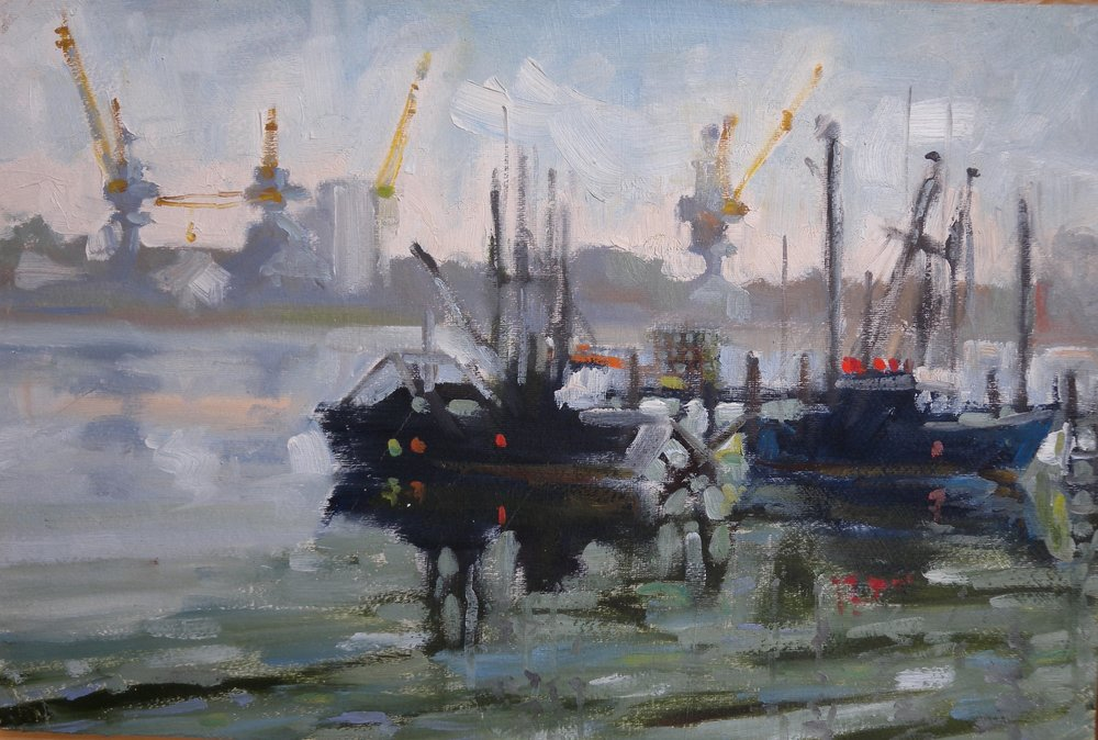 Fishing Boats, oil on paper, 10 x 14