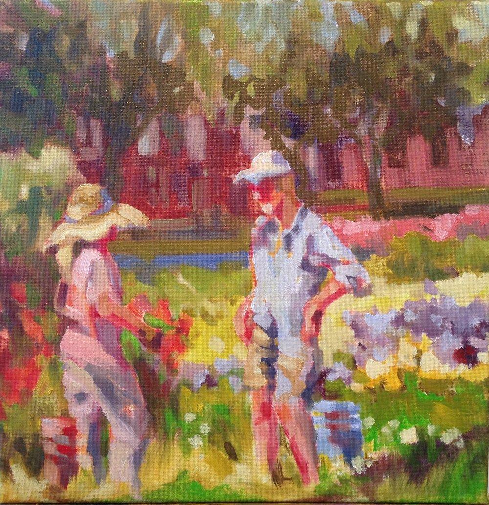 Two Gardeners, oils, 12 x 12