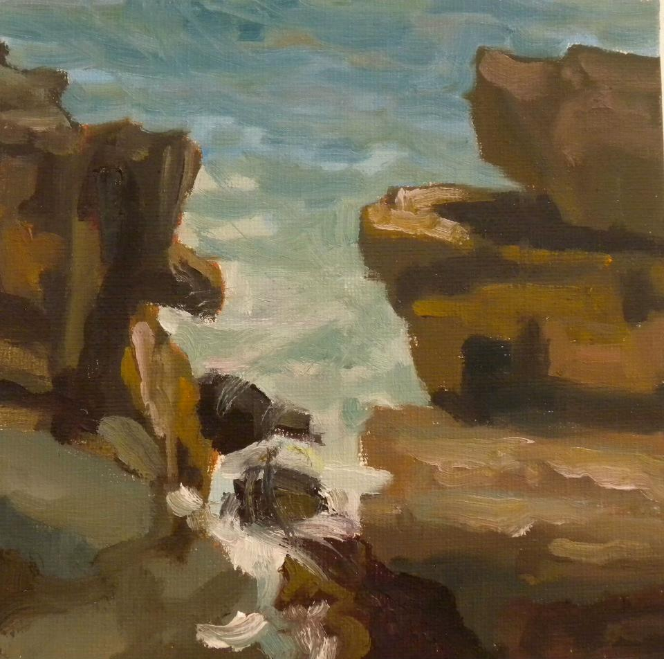 Giant Steps, oil, 6 x 6