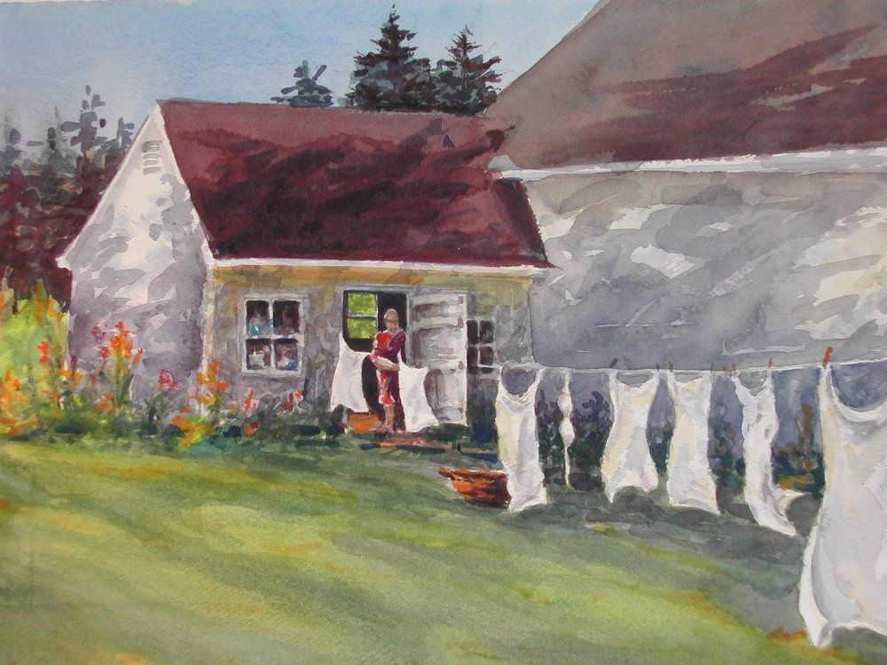 Wash Day, watercolor. 11 x 15