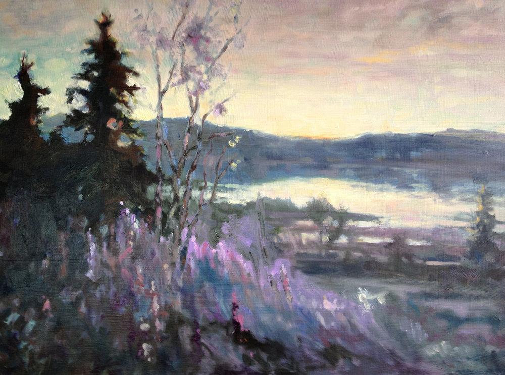 Lupine Dawn, pastel, 12 x 14