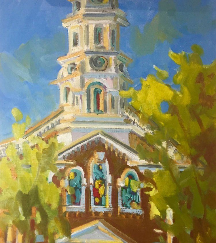 The Steeple, oils, 12 x 14