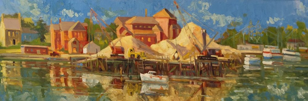 Portsmouth Sand Piles, oil, 16 x 36