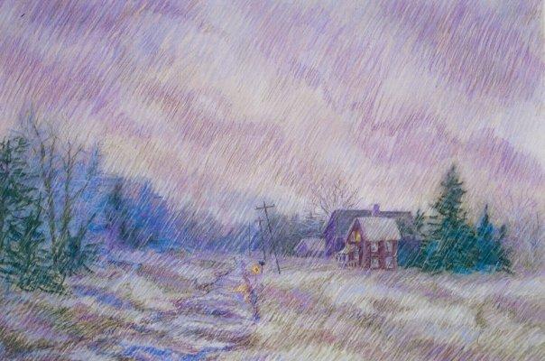 Purple Rain, pastel, 18 x 24