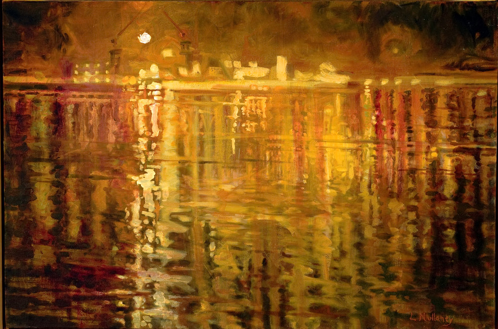 Shipyard Lights, oils, 18 x 20