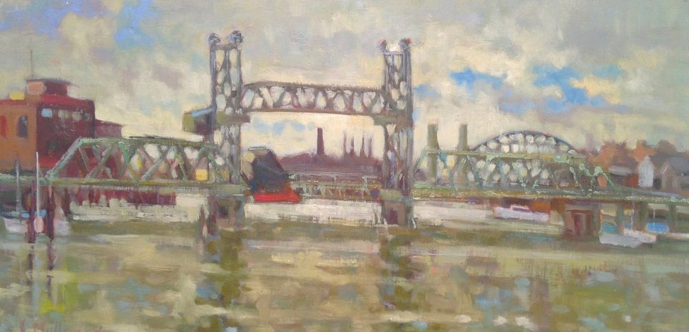 Red Tug, oil on board, 16 x 20