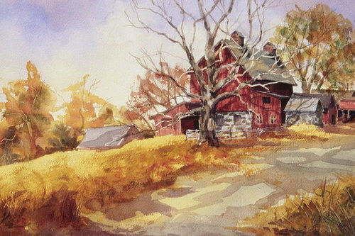 Simsbury Farm, watercolor, 15 x 20