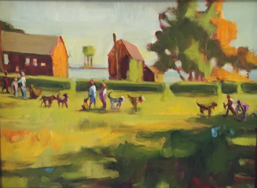 Strawbery Dog Walk, oils, 9 x 12