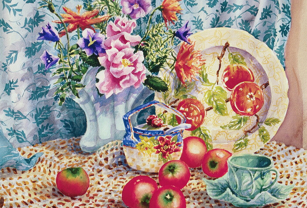 Teacup and Tomatoes, watercolor, 12 x 16