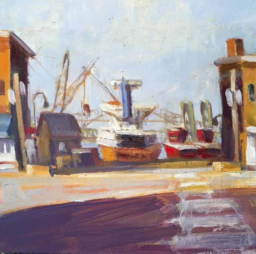 Cargo with Tugs, oils, 12 x 12