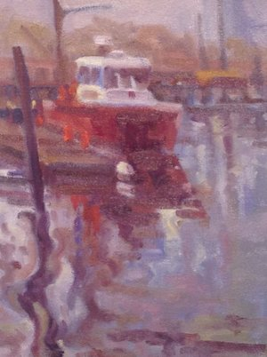 Fireboat in Fog, oils, 9 x 12