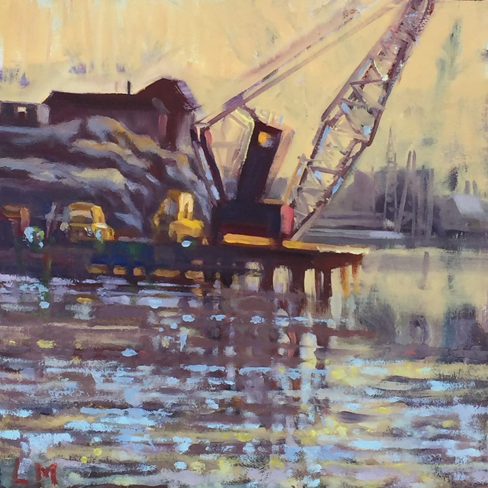 Yellow Cab, oil on board, 10 x 10