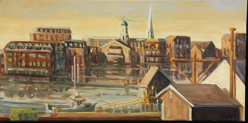 Piscataqua Neighbors, oils, 12 x 24