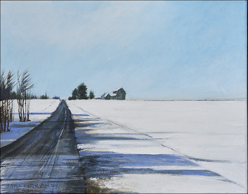 """""""Blowing Snow with Barn"""" - 11"""" x 14"""""""