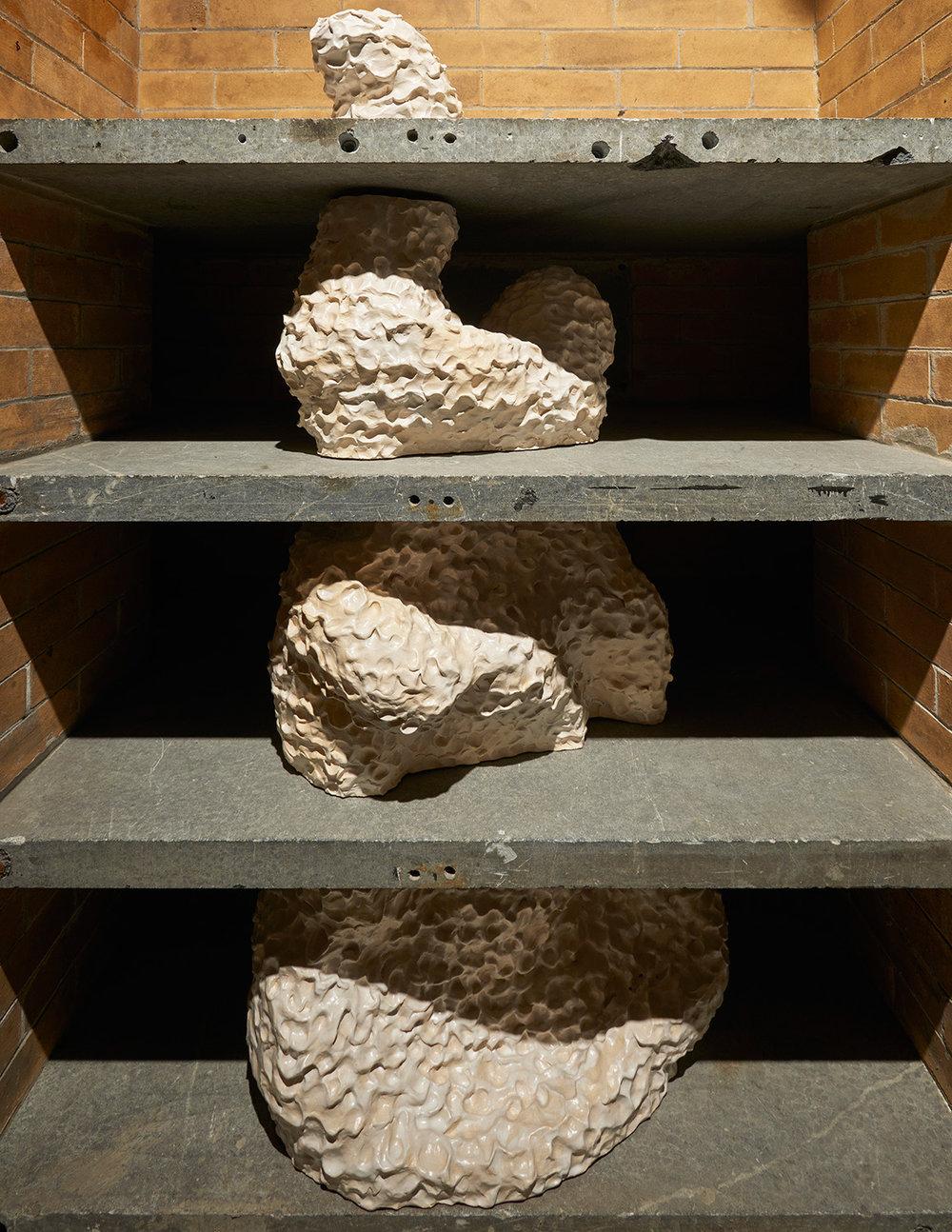 """Third Wheel  (Installation view), SculptureCenter 2016 Glazed ceramic 56"""" x 41.5"""" x 31.5"""" Photo: Kyle Knodell"""