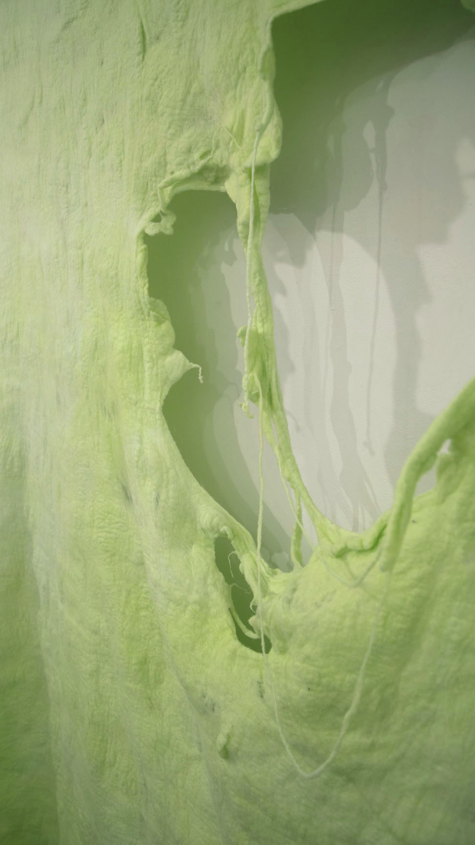 "Snot Rocket   2014  Felted wool, Kool-aid, ceramics 67"" x 95"""
