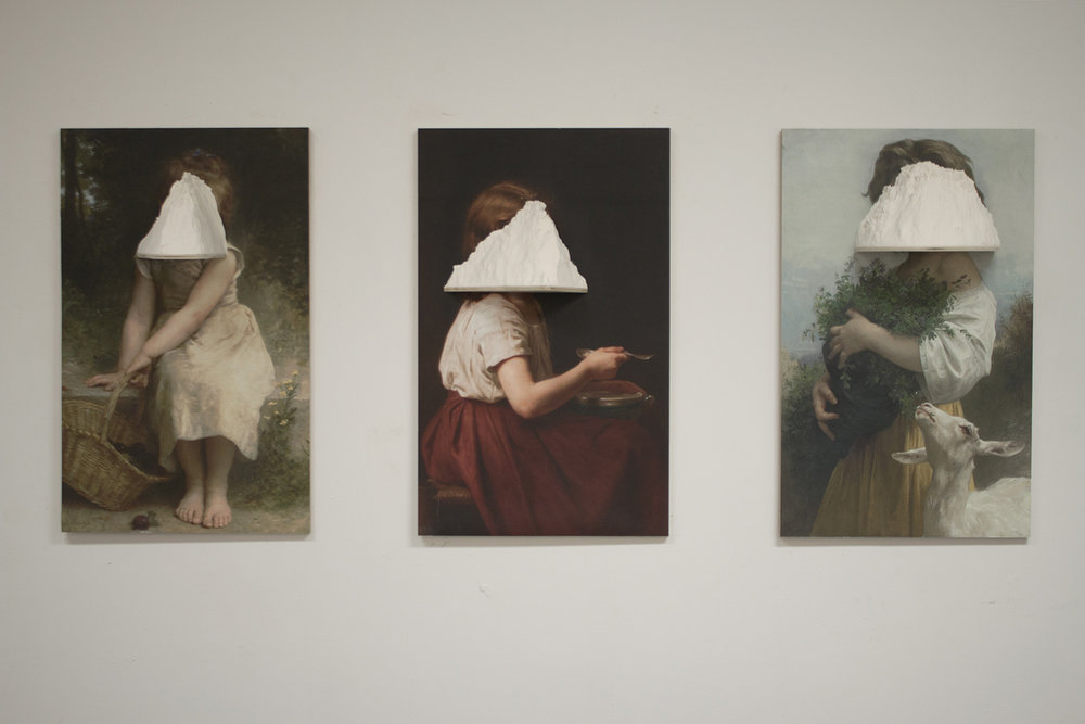 "Reproductions of a Pastoral Myth  2012 Prints, flour, wood Prints measure 21"" x 34"""