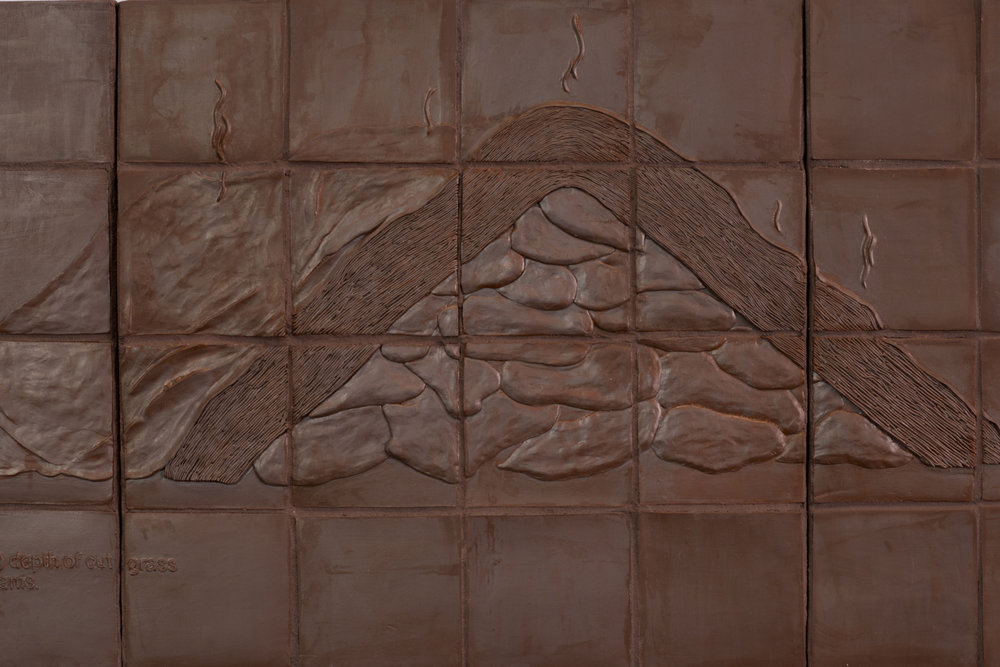 "Harvesting Methods (Yam Heap)  2018 Glazed stoneware, grout 26""H x 79""W x 1""D  Photograph courtesy of MCA Denver"