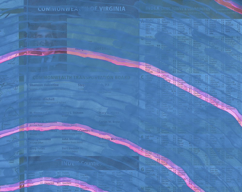 "Chesapeake Bay Impact Crater on VA tourist map (detail), 2019, Acrylic on map, 19x45"""