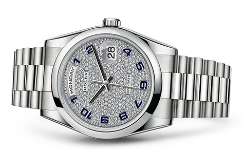 Rolex Day-Date 36mm Platinum Pave 118206  Retail Price: $71,750  Our Price: $60,900   Call for additional savings: 215-922-4367