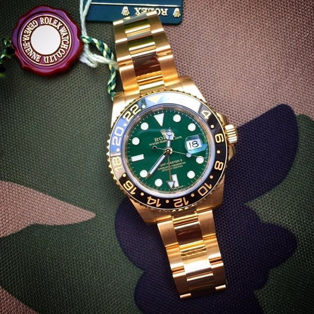 Some say #green with #envy but we say say it's a reward from hard work.  TREAT YOURSELF! www.ncs-jewelry.com  #rolex #rolesgmt #rolexwatch #dailywatch #dailywatchpics #watchporn #luxurywatches #luxurylifestyle #fashionmen #instagram #camouflage #camo #marines #army #watchmagazine #bloggers #millionaire #millionairemindset