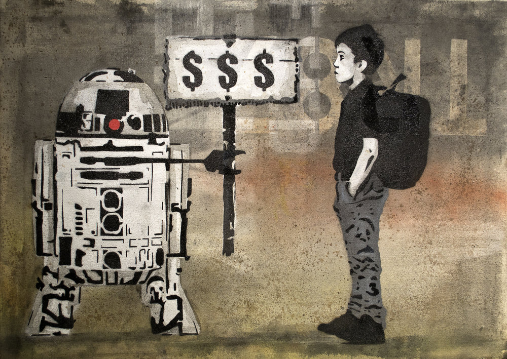 Money  War$   Spray Stencil  2016