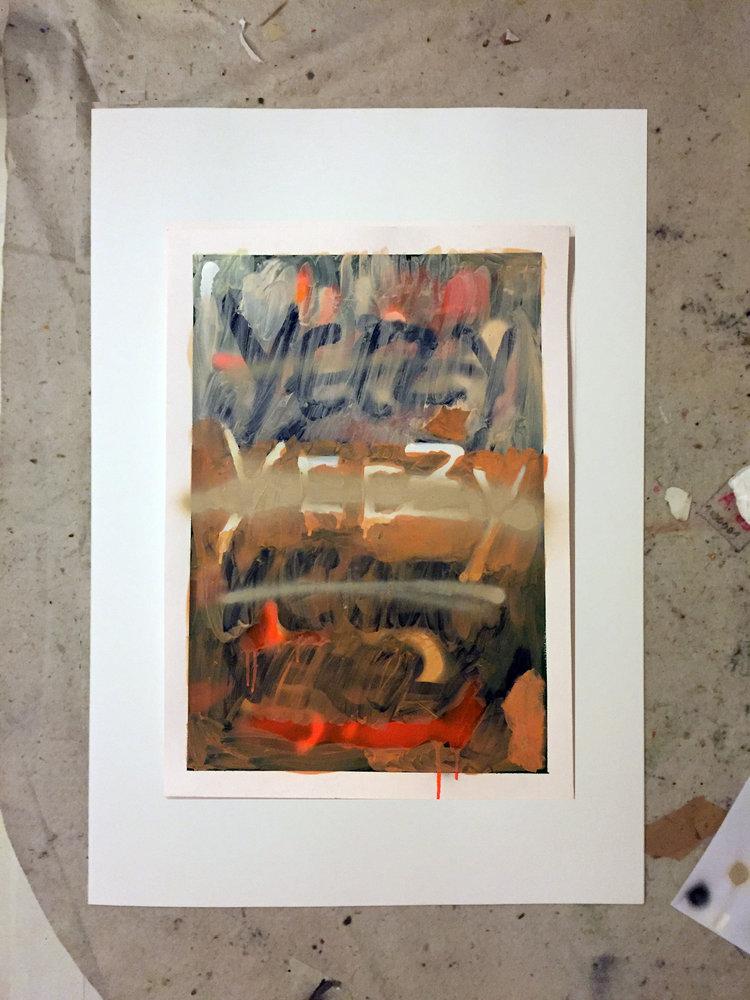 yeezy + me   oil and spray on paper / 70cm x 50cm