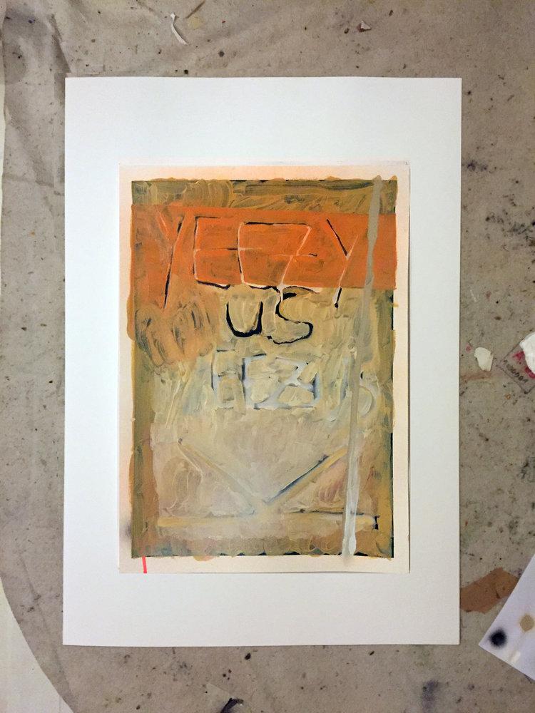 yeezy + us   oil and spray on paper / 70cm x 50cm