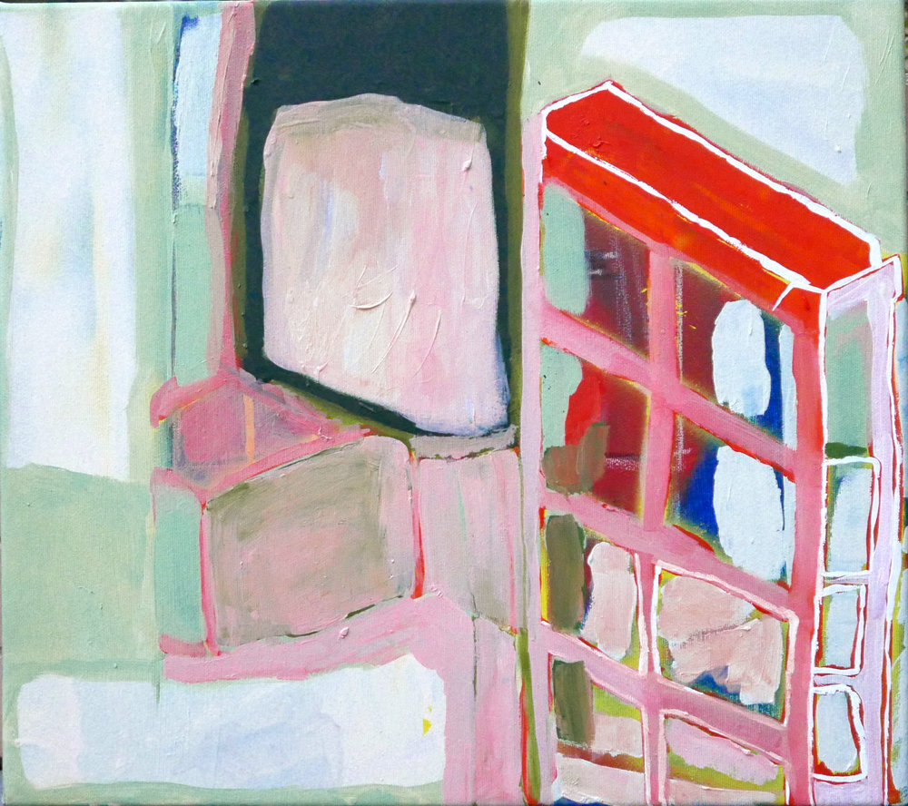 Room   oil, spray and dry pastel on canvas / 45cm x 50cm