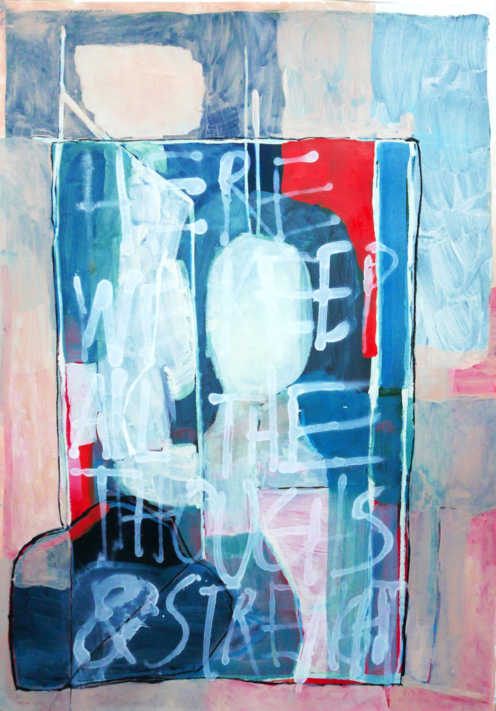 Her thoughts and strenght   oil, spray and dry pastel on paper / 100cm x 70cm