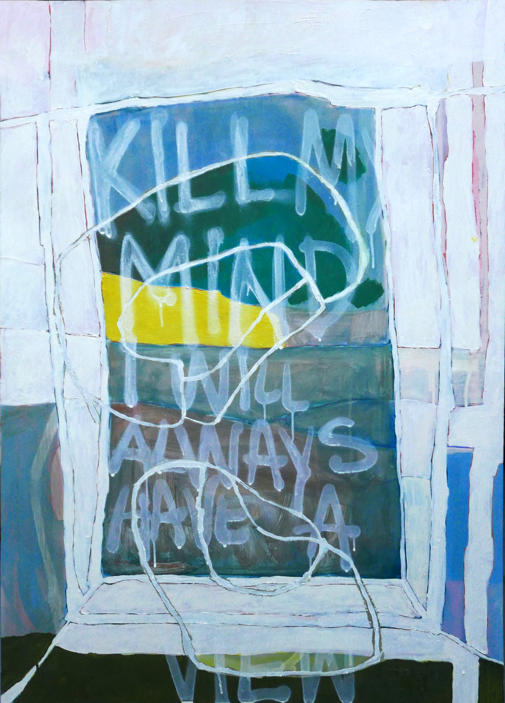 Kill my mind, I will always have a view (in studio)   oil, spray and dry pastel on paper / 100cm x 70cm