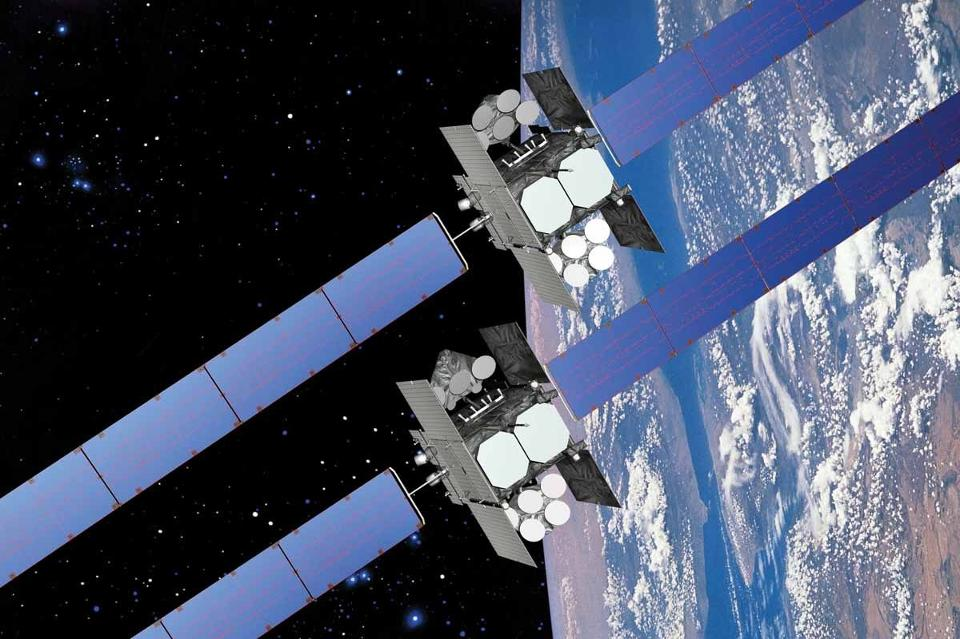Boeing's Wideband Global Satcom is one type of geosynchronous satellite that might benefit from being serviced in orbit. It is the highest-capacity communications satellite the military operates, and critical to operations around the world. (U.S. Air Force Space Command photo illustration/modified)