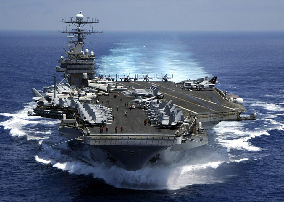 BWXT nuclear technology gives the U.S. Navy's aircraft carriers unlimited reach and endurance. -Wikimedia