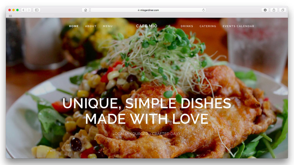 Cafe Mio.  A simple site to display the delicious dishes and welcoming vibe of Cafe Mio. Website design and food photography.  www.miogardiner.com