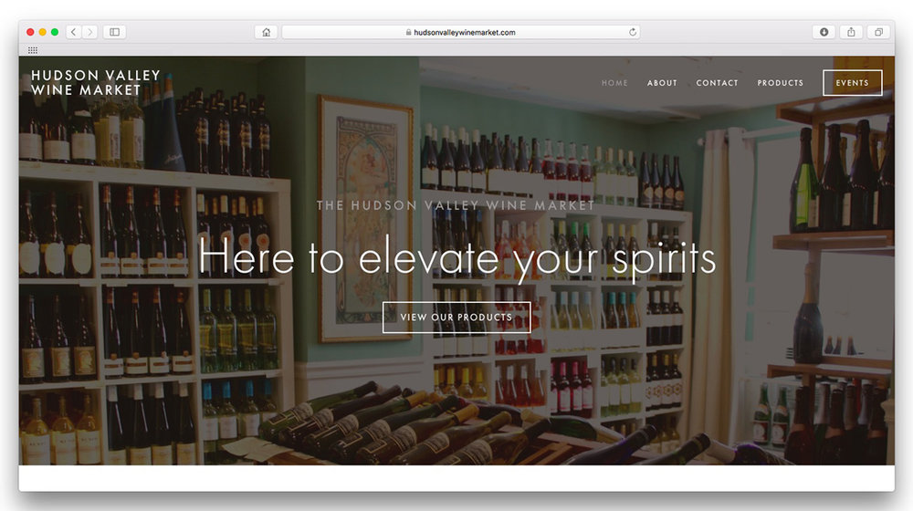 Hudson Valley Wine Market.  A site designed to highlight the extensive knowledge and collection of this eclectic wine and spirits shop. Website design, interiors photography, and product photography.  www.hudsonvalleywinemarket.com