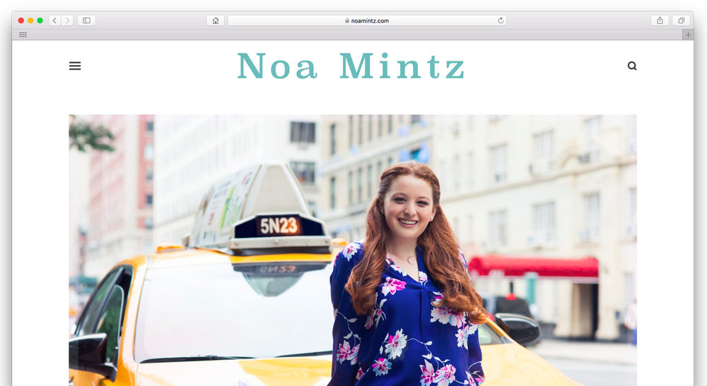 Noa Mintz.  A young entrepreneur's personal media referral website. Simple, clean cut, and informative, highlighting her many media features and providing contact information for media inquiries.  www.noamintz.com