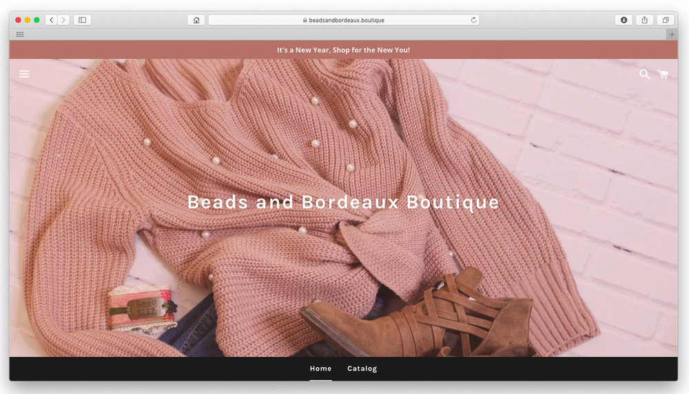 Beads and Bordeaux.  A curated clothing boutique built on Shopify to integrate with direct shopping from Facebook and Instagram. Website design and product photography.  www.beadsandbordeaux.boutique
