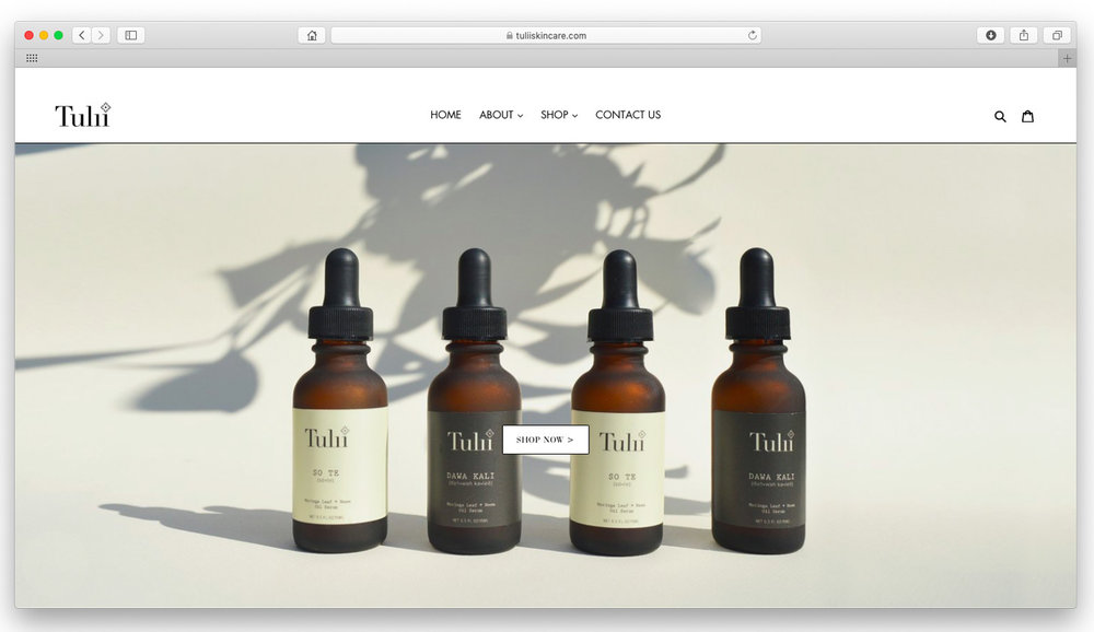 Tulii Skincare.  Shopify e-commerce website design, product photography, and Instagram management and shoppable posts.  www.tuliiskincare.com
