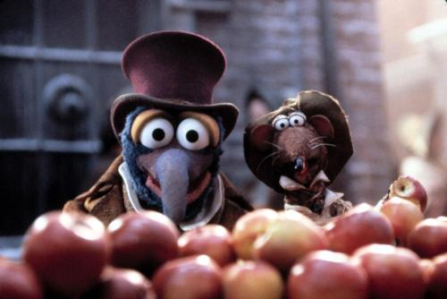 Gonzo and Rizzo in costume for  A Muppet Christmas Carol.