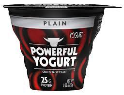 A black and red container of yogurt with the silhouette of a bull's head and the words POWERFUL YOGURT.