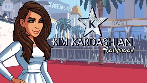A promo image for Kim Kardashian: Hollywood. Cartoon Kim stands on a red carpet. You can see a KARDASHIAN sign in the distance.