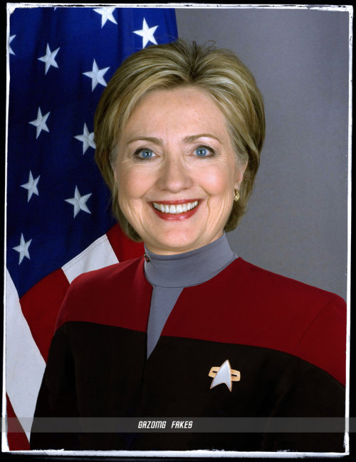 Hillary Clinton in command-red  Star Trek  Voyager-era uniform.