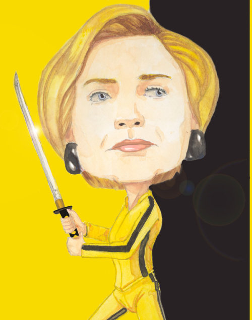 Hillary Clinton in the yellow tracksuit and carrying the samurai sword of The Bride, from  Kill Bill .