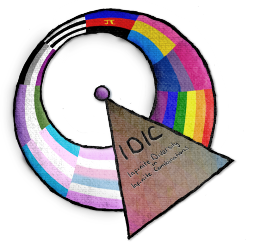 """An IDIC—a symbol featuring a triangle and circle superimposed on each other—with the colors of various queer flags. The phrase """"Infinite Diversity In Infinite Combinations"""" is written on the triangle."""