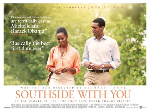 The poster for  Southside With You , featuring Tika Sumpter as Michelle Obama and Parker Sawyers as Barack Obama. They are walking in a green space.